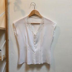 Vintage White Cotton Lace Blouse, Size S/M